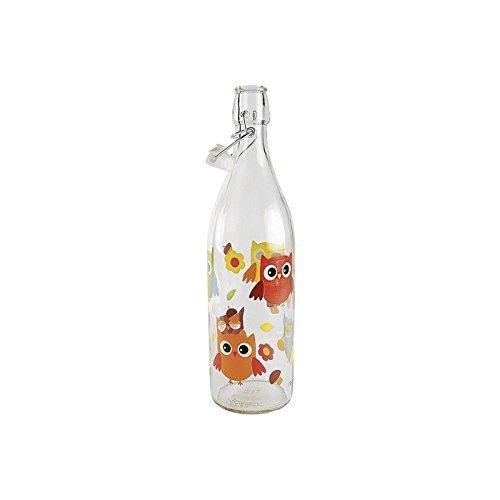 Bottiglia vetro con tappo ermetico civette 1L.