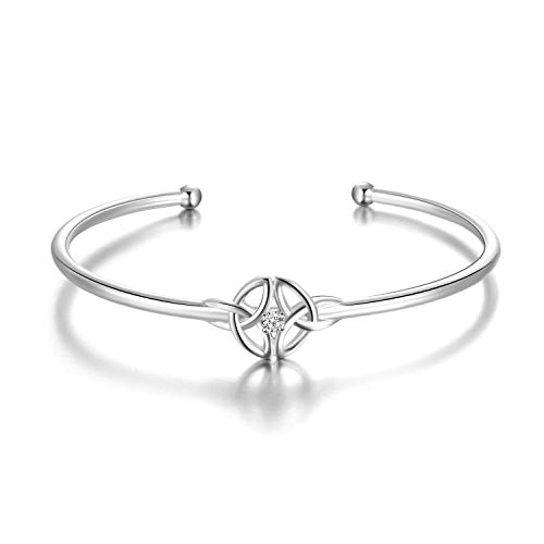 Sterling-Silber-verstellbarer-Celtic-Knot-offener-Armreif-fr-Frauen