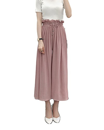 Damen Hohe Taille Casual Beinhosen Loose Weite Bein Hosen Freizeithose Wide Leg Pants Plissierte Schlaghosen Hosenrock Pink M