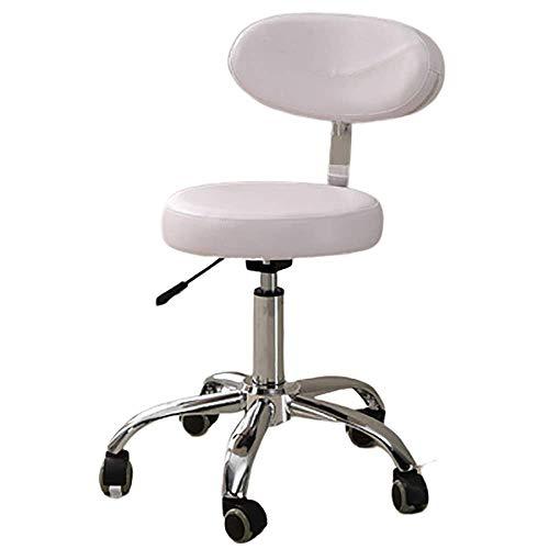 Beauty Salon Stuhl Stück Arbeitshocker Drehhocker Stuhl Bürostuhl mit Lehne höhenverstellbar Weiss 360 Grad Drehung