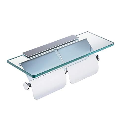 Hiendure Toilettenpapierhalter, Doppelter Toilettenpapierhalter, Papierspender mit Glasablage und 2 Deckeln