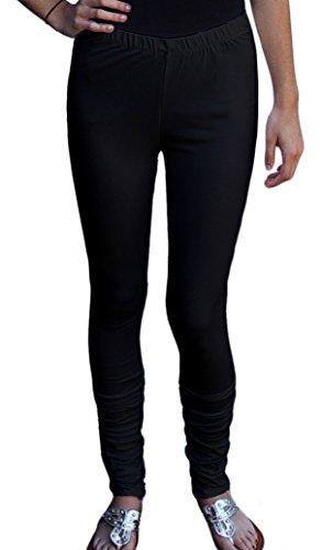 Baumwolle Extra Langes Tunika (Ayurvastram Leggings aus Reiner Baumwolle, extra lang - Schwarz - X-Large: Größen 48-50)
