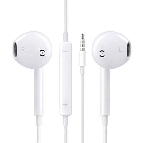 Airylve Kopfhörer, Audio Kopfhörer In-Ear Sport Kopfhörer mit Mikrofon und Fernbedienung Kopfhörer 3.5mm Klinkenbuchse für Samsung Huawei Xiaomi Sony (Weiß)