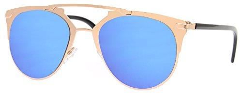 Cheapass Sonnenbrille Gold Blau Verspiegelt Designer Brille Metall Damen Frauen Mädchen