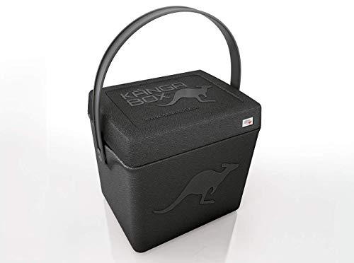 KÄNGABOX®Trip TP1310SZ in schwarz. Hochwertige Thermobox mit Henkel und nützlich als Hocker. Hält warm, kalt und heiß. Ultraleicht, extrem stabil. Große Innenhöhe mit 31 cm. Inhalt 20 Liter. Material EPP.