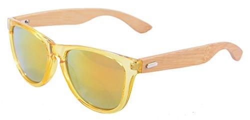 SHINU Wooden Sonnenbrille UV400 Verspiegelten Bunten Flash-Spiegel-Objektiv-Holz Brillen-Z6100(yellow-bamboo nature, yellow)