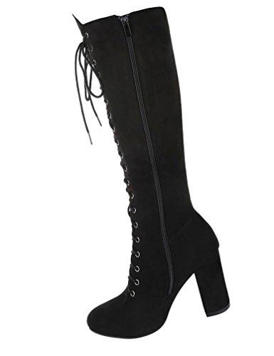 Damen Stiefel Schuhe Schnürer Schwarz Grau Hellbraun 36 37 38 39 40 41 Schwarz