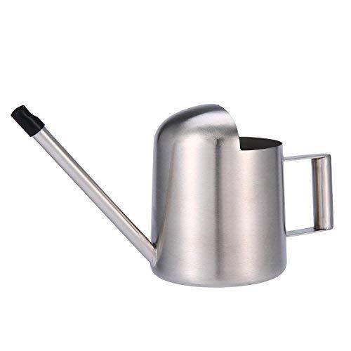 Aolvo Mini-Gießkanne für den Innenbereich, Edelstahl, 300 ml, mit langem Hals, für Haus und Büro, Silberfarben