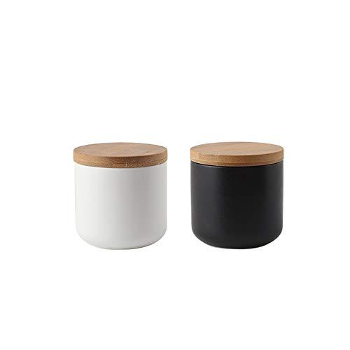 Danmu 2 Stück Set Keramik Candy Dish mit luftdichtem Bambus Deckel Keksdose Vorratsdose Buffet Jar Keks Kaffee Haferflocken Tee Zucker Behälter 250 ml -