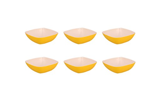 Borosil Square Round Bowl 6inch, Set of 6 Pieces, Yellow  available at amazon for Rs.299