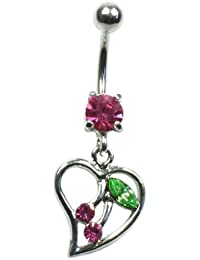 Piercing General - Piercing Nombril Coeur Cerise - Rose