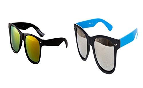 Ciffre 2 er Sonnenbrillen Partybrille Nerd Sonnenbrille Brillen Schwarz Feuer verspiegelt Türkis