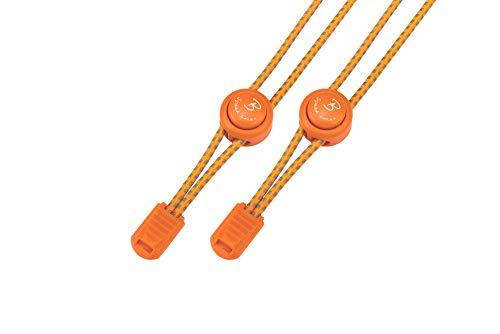 Bernit Schnürsenkel ohne binden - reflektierende elastische Schnürsenkel mit Schnellverschluß - Schnellschnürsystem Kinder - anpassbare Länge 120 cm (neon orange) -