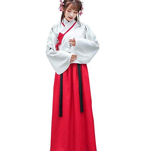 Susichou Hanfu chinesischer Stil Ming Dynastie Kostüme Performance Kleidung Bestickt Rock Fee Rock Abschluss Foto Gr. L, rot