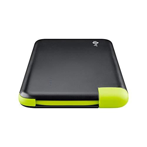 Goobay 64558 Slim Powerbank 4.0 mit 4000 mAh und integriertem Micro USB Kabel externer Akku Ladegerät für Samsung/HTC/Apple iPhone