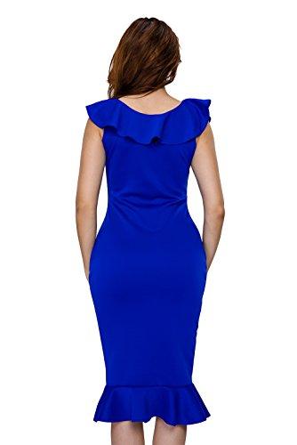 La vogue Damen Schulterfrei Spleiß Volants Sommerkleid Dress Blau