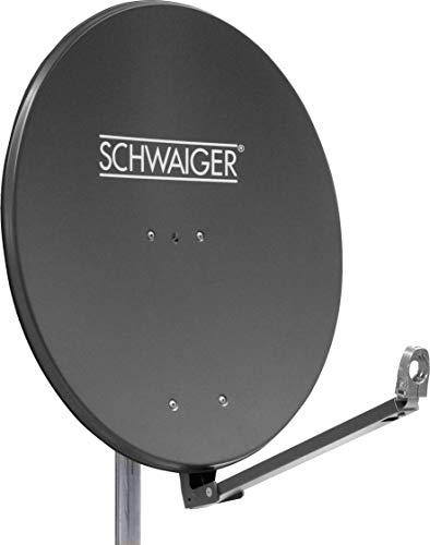 SCHWAIGER -258- Satellitenschüssel, Sat Antenne mit LNB Tragarm und Masthalterung, Sat-Schüssel aus Aluminium, Anthrazit, 88 x 88 cm