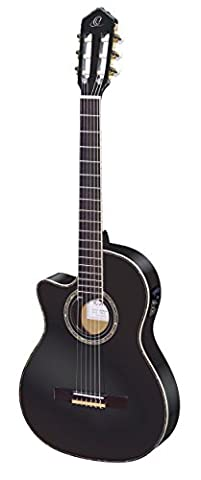 Ortega Guitars RCE145LBK Family Series Pro Left Handed Nylon 6-String Guitar with Spruce Top, Mahogany Body and