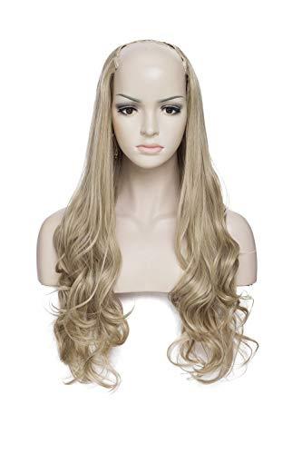 Extension clip capelli finti fasica unica mezza testa u part design 60cm clip in hair extensions mossi parrucca da donna 200g - biondo cenere
