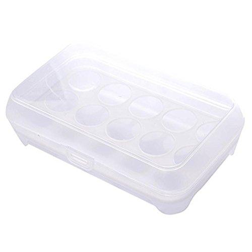 Kühlschrank Eier Tablett Behälter perfekter Service inbegriffen Organizer, Single Layer 15Eier Halter Slide Regal Kunststoff Box luftdicht White 24x15x7cm ( LxWxH ) (Ente-ei-boxen)