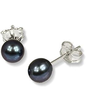 SilberDream Damen-Ohrstecker Süßwasserzuchtperle 5mm schwarz 925er Sterling Silber Perlen SDO105S