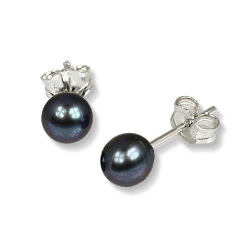 SilberDream Damen-Ohrstecker Süßwasser-Zuchtperle Qualität AA schwarz 6mm 925 Sterling Silber SDO106S (Süßwasser Schwarz Perle Ring)