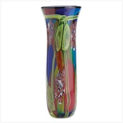 Preisvergleich Produktbild Gifts & Decor Peacock Tail Motif Decorative Fantasy Art Glass Vase by Gifts & Decor