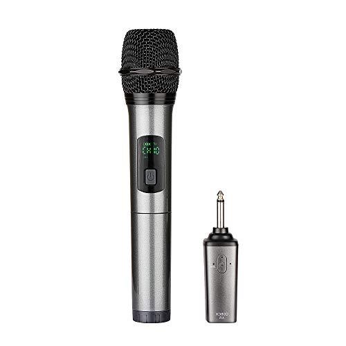 Kabelloses Mikrofon, ARCHEER UHF Funkmikrofon Wireless Mikrofon Karaoke Drahtloses Tragbares Handmikrofon Dynamisches Microphone (50m Reichweite, Mit bluetooth Aufladbarem Empfänger) -