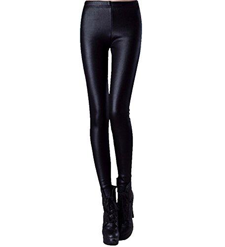 LaoZan Mujer Pantalones cuero de imitación Longitud total cuero de la PU Leggings terciopelo grueso XXL Negro