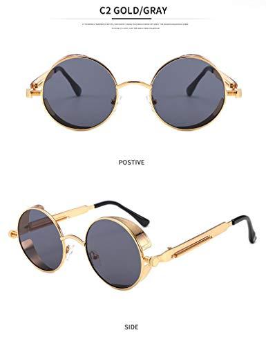 YUHANGH Mode Steampunk Sonnenbrille Frauen Runde Brille Männer Kreis Unisex Vintage Retro Style Punk De Sol