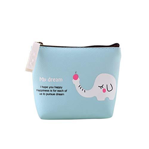 Creativo Lindo Animal Monedero Pequeño bolso de almacenamiento portátil Billetera Bolsillo con cremallera Bolsa Artículos varios Organizador de almacenamiento (Elefante azul cielo)