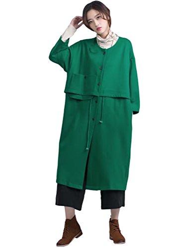 MatchLife Damen Button Down Drawstring Parka Mantel Style1-Grün