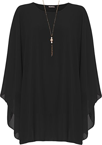 WearAll Women's Plus Chiffon Necklace Top Ladies Baggy Oversized Lined Long Sleeve 16-30
