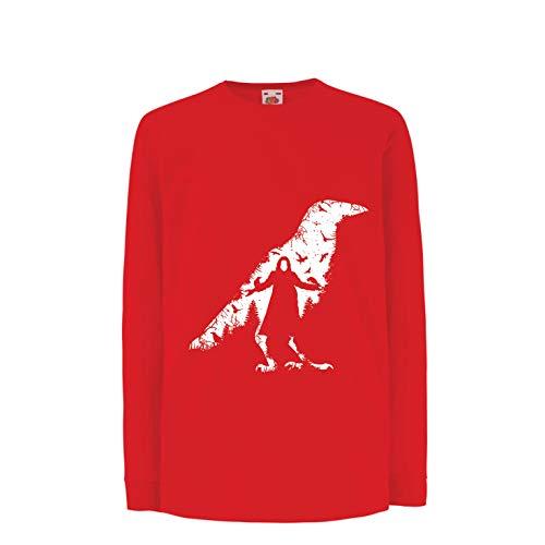 lepni.me Kinder-T-Shirt mit Langen Ärmeln Die Krähe - die Toten und die verlorenen Seelen (9-11 Years Rot ()