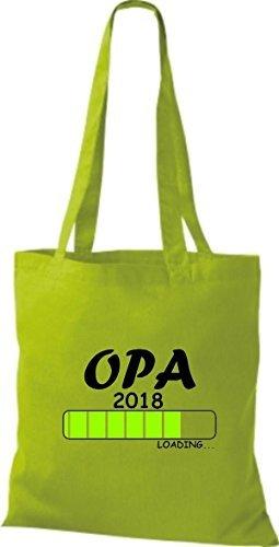T-shirt Di Stoffa Di Cotone Borsa Di Tela Opa 2018 Caricamento Regalo Di Nascita Limegreen