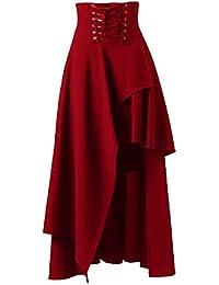 Las Mujeres De Cintura Alta De Lolita Gotica Sólido Vendaje Maxi Falda  Asimétrica fdfe67a7f6e7