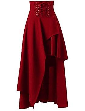 Las Mujeres De Cintura Alta De Lolita Gotica Sólido Vendaje Maxi Falda Asimétrica