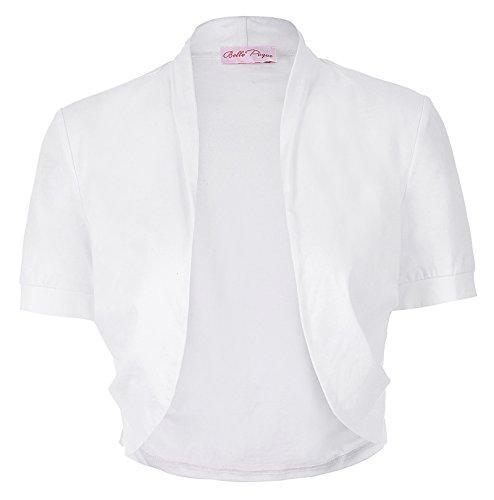 Damen Weiße Bolero Shrug Jacke für Elegant Evening Party JS215-2 XL