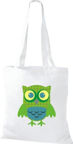 Sacchetto Di Stoffa Gufo Colorato Borsa Da Trasporto Carino Con Puntini Di Karos Stripe Owl Retro Diverso Colore Bianco
