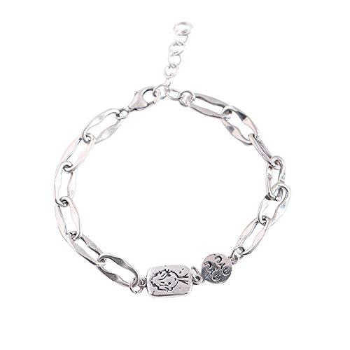 Armbänder für Frauen Silber 925, Ovaler Bösewicht Brief Thai Silber verstellbare Armbänder, am besten für Schwester Friend Mum Anniversary Jewellery Gift