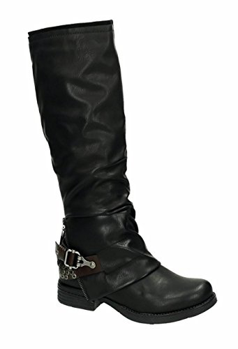 King Of Shoes Klassische Kniehohe Damen Biker Stiefel Leder Optik Boots Nieten Langschaft 536 (37, Schwarz) (Boot Knie Leder Flache)