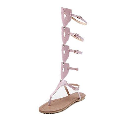 AnMengXinLing Damen Flach Gladiator Sandalen Knie Hoch Strappy Flip - Flops Lässig Sommer Schuhe Tanga Schnalle Groß Sandalen Stiefel Plus Größe (38 EU, Pink) (Hoch Knie Comfort)