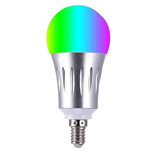 Yeahlvy WiFi La Bombilla LED Inteligente Lámpara Regulable de 7W RGB E14/E27 Funciona con el Control Remoto de Alexa Google Home controlado por teléfono Inteligente Size E14 (Silver)