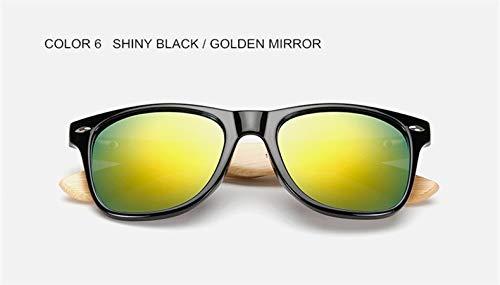 FBNSJA Hohe qualität Bambus HolzTempelSonnenbrilleFrauenmännerMarkeModeHolzhandgefertigten Spiegel Open-air BrillenFarbe 6