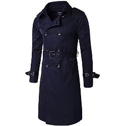 ROBO Gabardina Larga Hombre de Doble Botonadura Clásica Slim Fit Abrigo Chaqueta Outerwear de Primavera Otoño Invierno