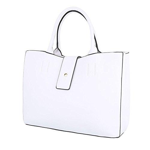 iTal-dEsiGn Damentasche Mittelgroße Schultertasche Handtasche Kunstleder TA-A-701 Weiß