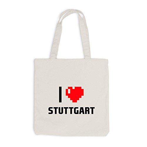 Jutebeutel - I Love Stuttgart - Deutschland Reisen Herz Heart Pixel Beige