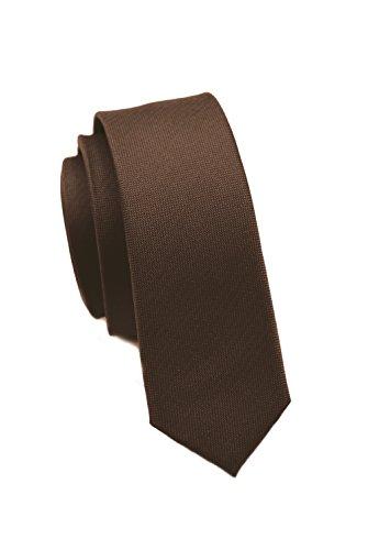 duenne krawatte Moderne, extra schmale Krawatten von PARSLEY, 24 verschiedene Farben, 100% Seide, 4cm schmal, Handarbeit, Business & Alltag (Braun)