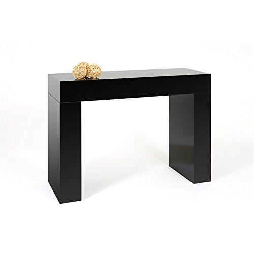 Mobili fiver evolution, consolle ingresso, legno, nero lucido, 110x40x80 cm