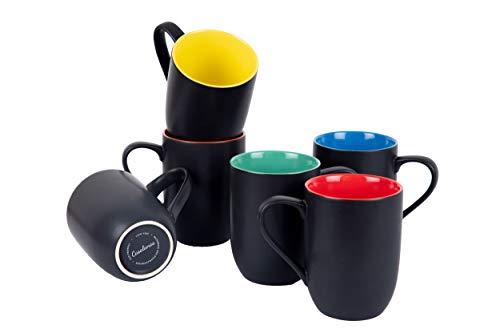 Casalanas 6-er Kaffee-Tassen-Set bunt, Rainbow, 290 ml, Porzellan, modernes Design mit Set-weitem Regenbogen-Farbverlauf